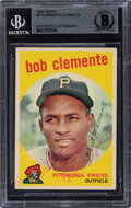 Baseball Cards:Autographs, Signed 1959 Topps #478 Roberto Clemente, BGS Authentic Auto....
