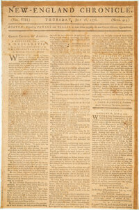 [Declaration of Independence]. The New-England Chronicle. Volume VIII. Numb. 413. Bo