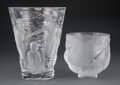 Glass, Two Lalique Clear and Frosted Glass Vases, post-1945. Marks: Lalique, France. 9-1/2 inches (24.1 cm) (tallest). ... (Total: 2 Items)