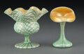 Glass, Two Quezal Glass Vases, circa 1910. Marks to tallest: Quezal. 5-1/4 inches (13.3 cm) (tallest, Jack-in-the-Pulpit va... (Total: 2 Items)