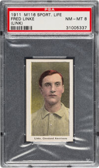 1910-11 M116 Sporting Life Fred Linke (Link) PSA NM-MT 8 - Pop Two, One Higher