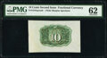 Fr. 1244SP 10¢ Second Issue Wide Margin Back PMG Uncirculated 62