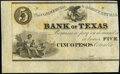 Obsoletes By State:Texas, Columbia, TX- Commercial & Agricultural Bank of Texas $5/Cinco Pesos ND (18__) G8 Medlar 21 Remainder Choice About Uncircu...