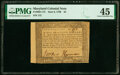 Maryland June 8, 1780 $4 PMG Choice Extremely Fine 45
