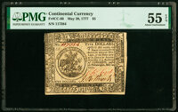 Continental Currency May 20, 1777 $5 PMG About Uncirculated 55 EPQ