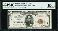 Fr. 1850-H $5 1929 Federal Reserve Bank Note. PMG Choice Uncirculated 63 EPQ