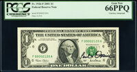 Paul H. O'Neil Courtesy Autographed Fr. 1926-F $1 2001 Federal Reserve Notes. Two Consecutive Examples. PCGS Graded Gem...