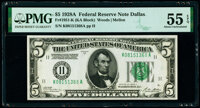 Fr. 1951-K $5 1928A Federal Reserve Note. PMG About Uncirculated 55 EPQ