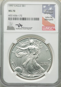1997 $1 Silver Eagle, Mercanti Signature MS70 NGC. NGC Census: (0). PCGS Population: (18). Mintage 4,295,004. ...(PCGS#...