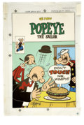 Original Comic Art:Miscellaneous, George Wildman - Popeye #131 Cover Color Guide Production Piece(Charlton, 1975)....