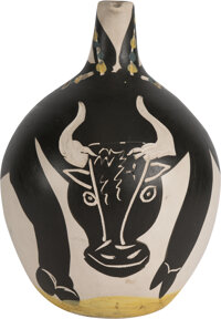 Pablo Picasso (1881-1973) Taureau, 1955 Earthenware ceramic pitcher, painted in colors and partially