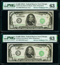 Small Size:Federal Reserve Notes, Reverse Changeover Pair Fr. 2212-G Mule/2212-G $1,000 1934A Federal Reserve Notes PMG Choice Uncirculated 63.. ... (Total: 2 notes)