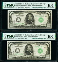 Reverse Changeover Pair Fr. 2212-G Mule/2212-G $1,000 1934A Federal Reserve Notes PMG Choice Uncirculated 63. ... (Total...