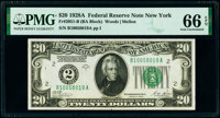 Fr. 2051-B $20 1928A Federal Reserve Note. PMG Gem Uncirculated 66 EPQ