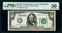 Fr. 2100-C* $50 1928 Federal Reserve Star Note. PMG About Uncirculated 50