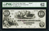 New York, NY- New York County Bank $10 18__ G8 Proof PMG Uncirculated 62, POCs