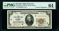 Fr. 1870-E $20 1929 Federal Reserve Bank Note. PMG Choice Uncirculated 64