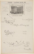Football Collectibles:Others, 1920's Knute Rockne Hand Written Plays on Personal Stationery Including Passing Play. ...