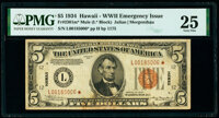 Fr. 2301* $5 1934 Mule Hawaii Federal Reserve Star Note. PMG Very Fine 25