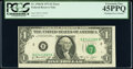 Error Notes:Miscellaneous Errors, Misaligned Face Printing Error Fr. 1908-B $1 1974 Federal Reserve Note. PCGS Extremely Fine 45PPQ.. ...