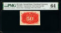 Fractional Currency:Second Issue, Milton 2E50R.5 50¢ Second Issue Experimental PMG Choice Uncirculated 64.. ...