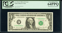 Mismatched Serial Numbers Error Fr. 1912-F $1 1981A Federal Reserve Note. PCGS Very Choice New 64PPQ