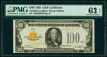 Small Size:Gold Certificates, Fr. 2405 $100 1928 Gold Certificate. PMG Choice Uncirculated 63 EPQ.. ...