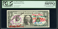 """Postally Cancelled 1973 ANA """"Short Snorter"""" Fr. 1907-F $1 1969D Federal Reserve Note. PCGS Choice About New 58..."""