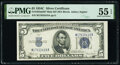 Small Size:Silver Certificates, Fr. 1653 $5 1934C Mule Wide Silver Certificate. Back Plate 637. PMG About Uncirculated 55 EPQ.. ...