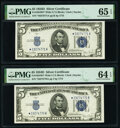 Small Size:Silver Certificates, Fr. 1654* $5 1934D Wide I Silver Certificate Stars. Two Consecutive Examples. PMG Graded Choice Uncirculated 64 EPQ; Gem Uncir... (Total: 2 notes)