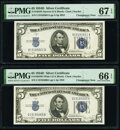 Small Size:Silver Certificates, Changeover Pair Fr. 1654 $5 1934D Wide I/Narrow Silver Certificates PMG Graded Gem Uncirculated 66 EPQ; Superb Gem Unc 67 EPQ.... (Total: 2 notes)