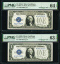 Changeover Pair Fr. 1601*/1602* $1 1928A Silver Certificate Stars PMG Choice Uncirculated 64 EPQ; Choice Uncirculated 63...