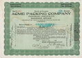 Football Collectibles:Others, 1921 Acme Packing Original Stock Certificate - Green Bay Packers' Original Sponsor! ...