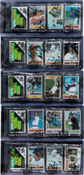 Baseball Cards:Unopened Packs/Display Boxes, 1979 Topps Baseball Rack Pack Collection (5) with HoFers Showing. ...