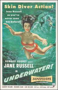 """Underwater! & Other Lot (RKO, 1955). Overall: Fine+ on Linen. One Sheet (27"""" X 41.5""""), Lobby Card (11""""..."""