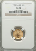 Modern Bullion Coins: , 1993 $5 Tenth-Ounce Gold Eagle MS70 NGC. NGC Census: (352). PCGS Population: (69). CDN: $850 Whsle. Bid for NGC/PCGS MS70. ...