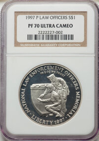 1997-P $1 Law Enforcement Silver Dollar PR70 Ultra Cameo NGC. NGC Census: (136). PCGS Population: (131). CDN: $150 Whsle...