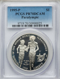 1995-P $1 Olympic/Paralympics Silver Dollar PR70 Deep Cameo PCGS. PCGS Population: (120). NGC Census: (83). CDN: $110 Wh...