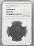 1794 1C Head of 1793, S-20b, B-4b, High R.4, -- Burnished -- NGC Details. Fine. From The Steelhead Falls Collection. &am...