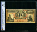 World Currency, Brazil Thesouro Nacional 100 Mil Reis ND (1892) Pick 60 Specimen PCGS Banknote Very Fine 30 Details.. ...