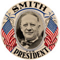 """Political:Pinback Buttons (1896-present), Al Smith: Imposing & Colorful 4"""" Celluloid By Western Badge. ..."""