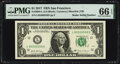 Small Size:Federal Reserve Notes, Radar Serial Numbers 85500558 and 85566558 Fr. 3004-L $1 2017 Federal Reserve Notes. PMG Graded Gem Uncirculated 66 EPQ; Super... (Total: 2 notes)