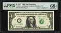 Radar Serial Numbers 85455458 and 85488458 Fr. 3004-L $1 2017 Federal Reserve Notes. PMG Graded Superb Gem Unc 68 EPQ; S...