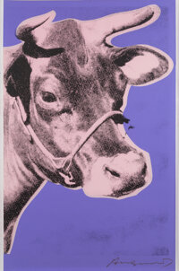 Andy Warhol (1928-1987) Cow, 1976 Screenprint in colors on wallpaper 45-1/2 x 29-3/4 inches (115