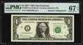 Small Size:Federal Reserve Notes, Radar Serial Number 52400425 and Repeater Serial Number 52405240 Fr. 3004-L $1 2017 Federal Reserve Notes. PMG Superb Gem Unc ... (Total: 2 notes)