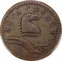 1786 New Jersey Copper, Curved Plow Beam, M. 24-Q, W-4970, High R.7, Fine 15 PCGS....(PCGS# 756008)
