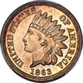 Indian Cents, 1863 1C MS67 PCGS. CAC....