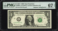Small Size:Federal Reserve Notes, Radar Serial Number 51177115 and Repeater Serial Number 51175117 Fr. 3004-L $1 2017 Federal Reserve Notes. PMG Superb Gem Unc ... (Total: 2 notes)