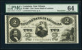 New Orleans, LA- Citizens' Bank of Louisiana $2 18__ G4 Remainder PMG Choice Uncirculated 64; New Orleans Canal and Bank...