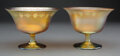 Glass, Two Tiffany Studios Wheel Carved Favrile Glass Footed Bowls, circa 1910. Marks: L.C. Tiffany-Favrile. 3-1/2 inches (8.9 ... (Total: 2 Items)